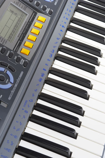 electronic keyboard with synthesizer and midi