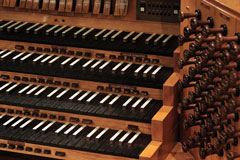 vintage pipe organ keyboard